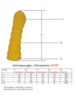 The Happy - Dildo in 5 sizes in Standard and Premium